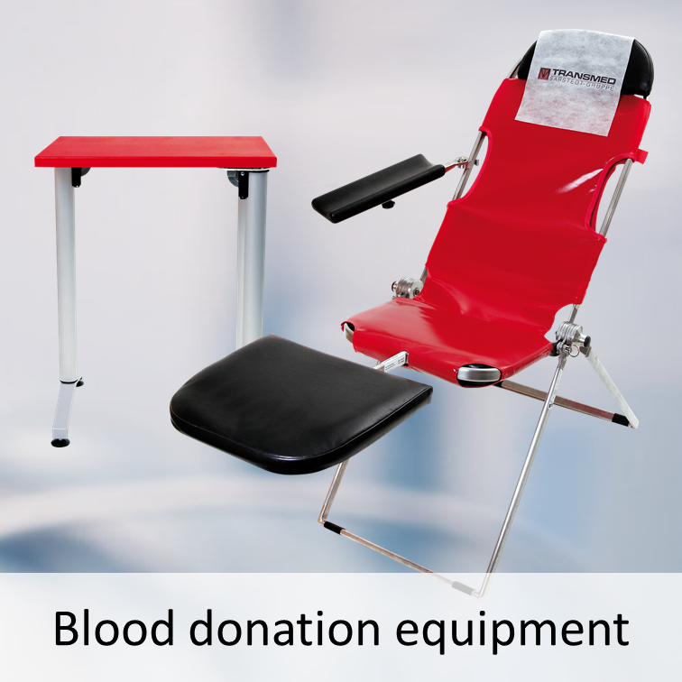 Mobile blood donation seat and mobile blood donation table
